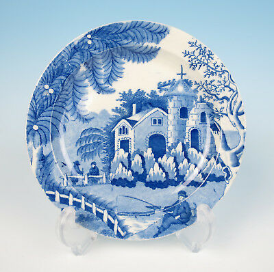 c.1800 Davenport FISHERMAN AND FERNS Antique Staffordshire Transferware Plate