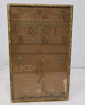 Antique 1835 Dated Folk Americana Needlework Sampler Framed