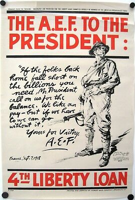 Vintage WWI World War I Poster: THE A.E.F. TO THE PRESIDENT, L. Baldridge, 1918