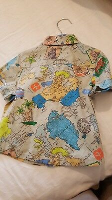 New with tags Monsoon Boys Shirt 6-12 months 100% Cotton Multi Colour Map patern