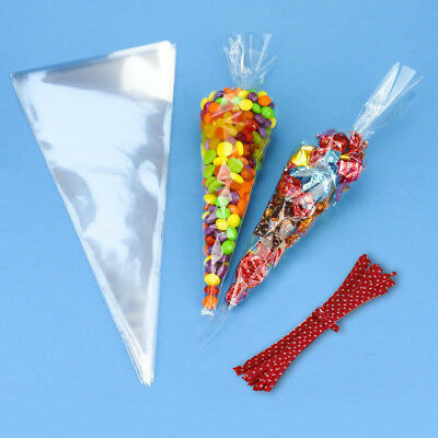 Clear Cellophane Cone 50 Bags + Red 50 Twist Ties Party Sweet Cello Candy UK