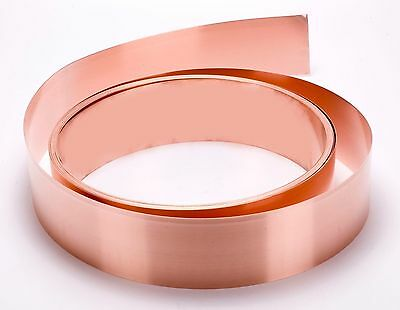 "Copper Strip .016"" Thick - 12oz - 26 Ga - 1/2""x36"" - FREE USA SHIPPING"