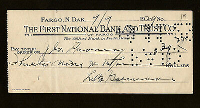 1929 Bank Check The First National Bank And Trust Co Fargo North Dakota Usa