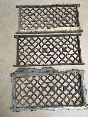 3 VINTAGE Matching METAL HEAT GRATES VENTS COVERS FLOOR WALL REGISTERS