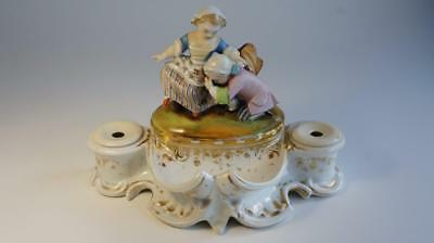 Good Antique Old Paris Porcelain Double Inkwell or Inkstand. Couple Lovers