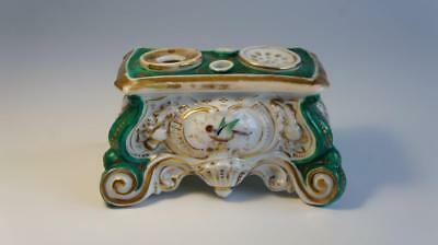 Good Antique Old Paris Porcelain Inkwell or Inkstand. Hand Painted Birds