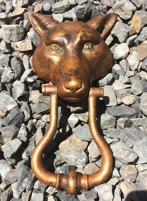 Used Vintage Large Heavy Brass Wolf Head Dog Fox Door Knocker Stressed Patina