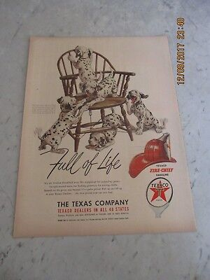 Vtg Texaco Fire Chief Gasoline Print Ad Advertising Dalmatians Dogs Full of Life