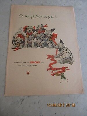 Vtg Texaco Fire Chief Gasoline Print Ad Advertising Dalmatians Christmas Merry