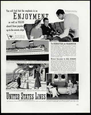 1938 Vintage Print Ad 30's UNITED STATES LINES cruise ship image travel boat