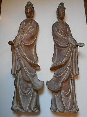 Very Old Oriental Wooden Wall Statues
