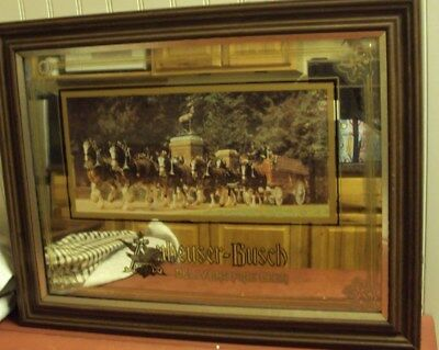 """Anheuser-Busch Beer Mirror, """"delivers Fine Beer"""" Delivery Led By Clydesdales"""