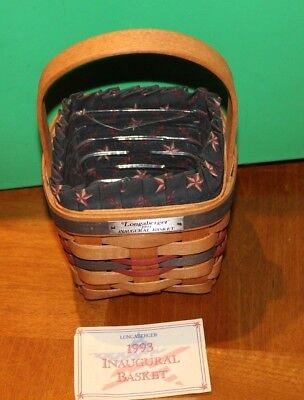 Longaberger 1993 Inaugural Basket With Fabric Liner & Plastic Protector