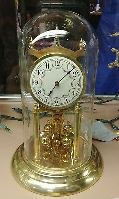 "Vintage German 12"" Anniversary Clock by Henry Coehler Brass with Glass Dome"