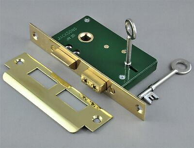MORTICE DEAD LOCK-JACKSONS JM25-POLISHED BRASS-suits levers-french doors-front