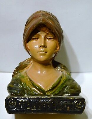 Antique French Plaster Bust, Country Maiden,  C1900