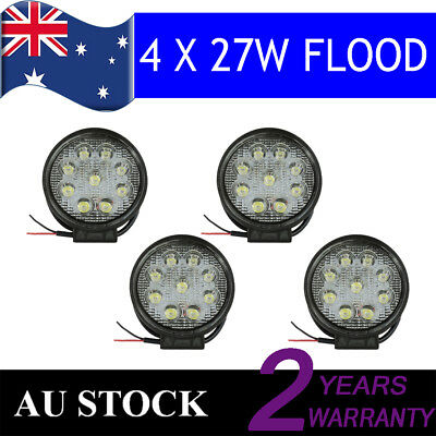 4x 27W Flood round LED Work Light BAR Work For Boat SUV Offroad ATV Truck 4x4