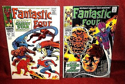 Marvel Comic Books Fantastic Four lot Issues 73, 78, 79, 81, 85 Silver Age