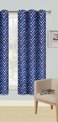 1Pc Grommet Panel Printed Lined Blackout Window Curtain Zigzag In Navy Ivory