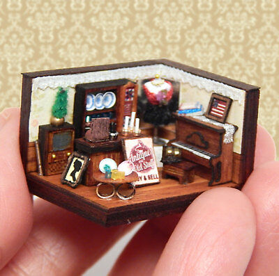 1/144th Scale Dollhouse Miniature OOAK Antiques Store Room Box Old Piano So Tiny
