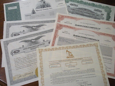 Collectible, original stock certificates, mixed lot of seven