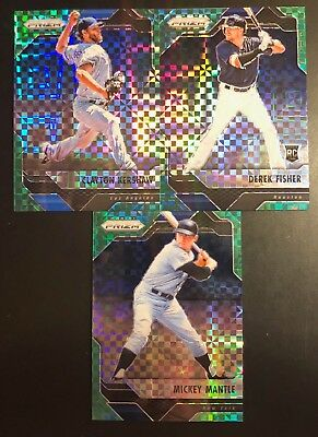 Lot Of (3) 2017 Panini Prizm Green Power Refractors /49  Mantle, Kershaw, Fisher