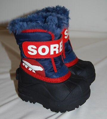 NWOB Sorel Toddler Boys Commander Blue & Red Warm Insulated Snow Boots Sz 4