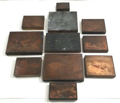 ANTIQUE c1922 COPPER PRINTING PLATE COLLECTION BRONX PARKWAY NY - 11 RARE PIECES