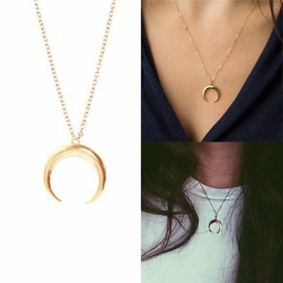 Women Chain Necklace Long Crescent Moon Pendant Horn Necklace Jewelry--