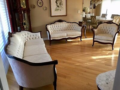 Tufted Living Room Set - Kimball French Provincial Carved Mahogany Winter White