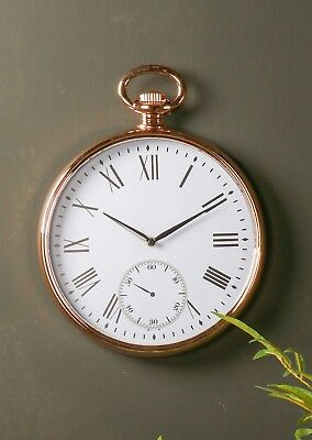 Vintage Antique Wall Clock Round Copper Gold Roman Numeral Pocket Watch Time