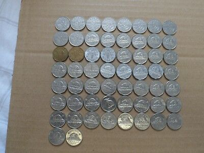 Canada 5 cents lot of 58 different 1922-1981