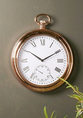 Vintage Antique Round Copper Pocket Watch Wall Clock Roman Numeral Living Room