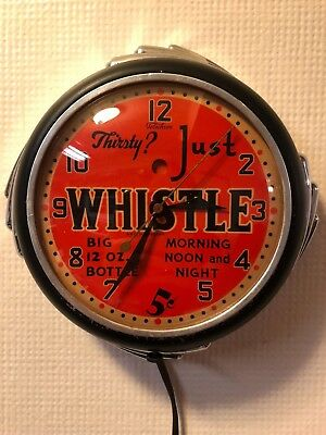 Vintage Telechron Whistle Soda Clock 5c Thirsty Just Whistle Advertising Sign