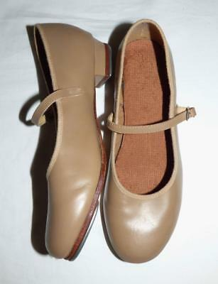 BLOCH TAN LEATHER MARY-JANE GIRLS TAP SHOES 8 24cm insole ladies 7 in day shoes