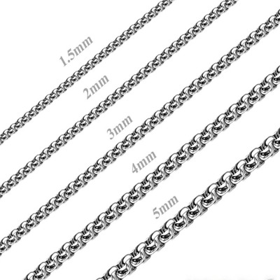 Hot Fashion MEN Stainless Steel 2mm/3mm/4mm/5mm Silver Smooth Box Chain Necklace