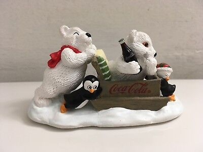 "Coca Cola Polar Bear Cubs Figurine 'On your Mark, Get Set, Go"" !998 Retired"