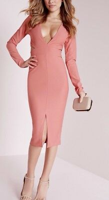 Missguided Crepe Long Sleeve Cut Out Midi Dress Rose Pink Size 2