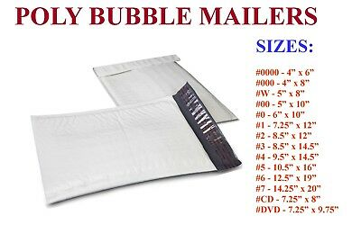 5-3000 Poly Bubble Padded Envelopes Mailers #000 #00 #0 #CD #1 #2 #3 #4 #5 #6 #7