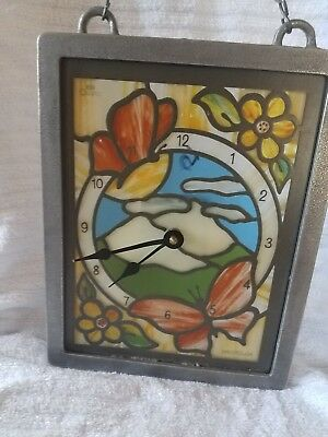 Vintage stained glass look Westclox Quartz Clock , works, butterflies #46933