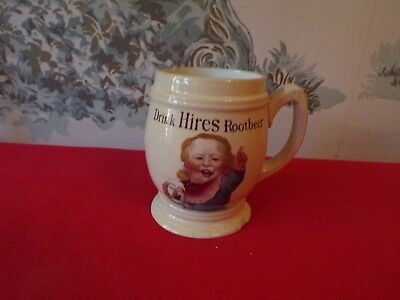 Antique Drink HIRES Rootbeer Advertising Stoneware Mug-Germany-Has chips