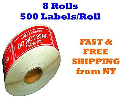 "8 Rolls 2""x3"" DO NOT BEND HANDLE WITH CARE Stickers 4000 Labels (500 Per Roll)"