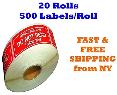 "20 Rolls 2""x3"" DO NOT BEND HANDLE WITH CARE Stickers 10000 Labels (500 Per Roll)"