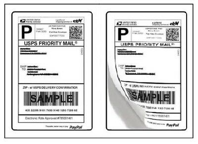 "SHIPPING POSTAGE LABELS 2 LABELS PER PAGE 8.5"" x 5.5"" USPS FedEx Paypal 2-UP"