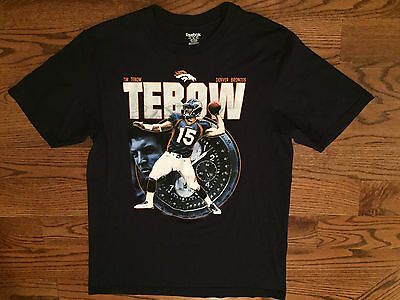 ae07925fb XL Men s Reebok Denver Broncos Football NFL Tebow Time Short Sleeve Blue T- Shirt