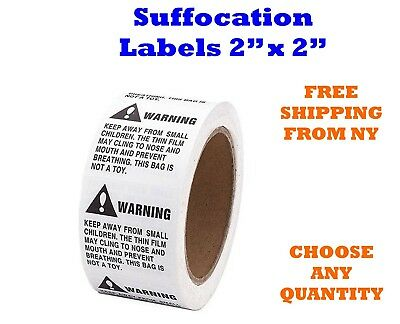 Labels 2 x 2 Suffocation Warning Amazon FBA approved Labels/Stickers Choose QTY