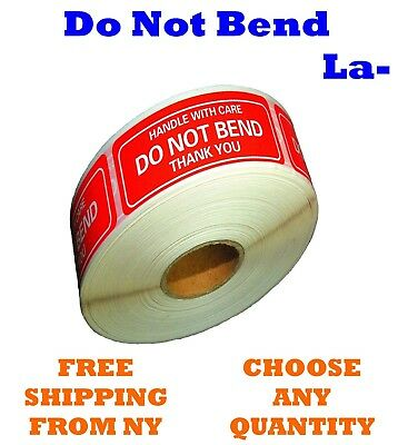 "DO NOT BEND STICKER HANDLE WITH CARE 2"" x 3"" STICKERS ROLL FAST SHIPPING LABELS"