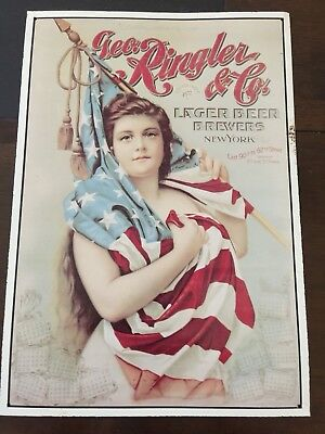 Geo. Ringler & Co Lager Beer Brewers New York Metal Sign Size 11 X 16