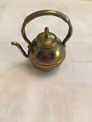 Antique Vintage Small Tiny Brass  Kettle Suitable For Dolls House/ornament
