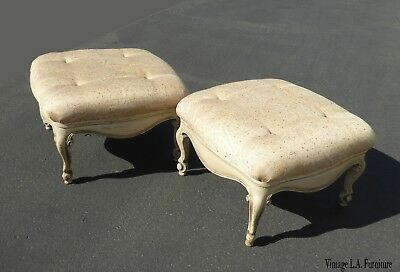 Pair of Vintage French Country Provincial Off White Ottomans w Cabriolet Legs